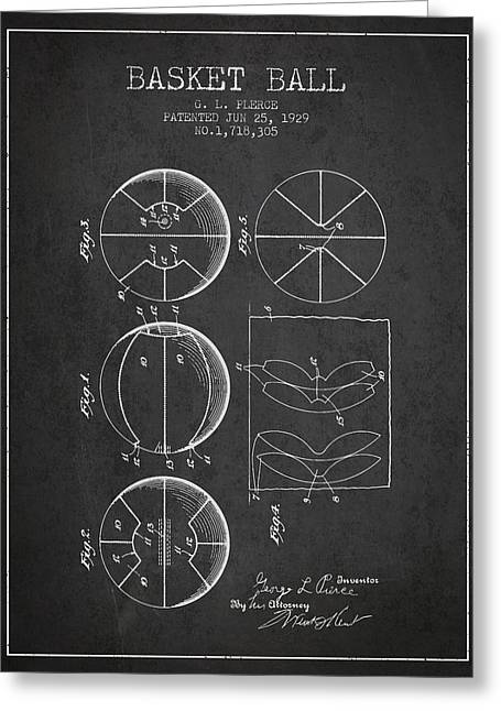1929 Basket Ball Patent - Charcoal Greeting Card by Aged Pixel
