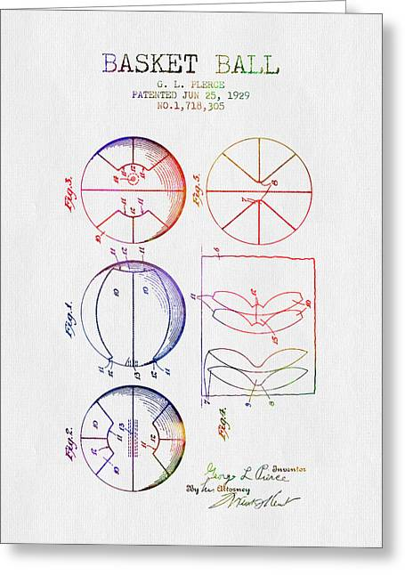 1929 Basket Ball Patent - Color Greeting Card by Aged Pixel