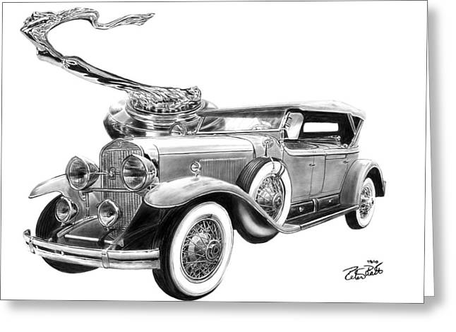 Graphite Greeting Cards - 1929 Cadillac  Greeting Card by Peter Piatt