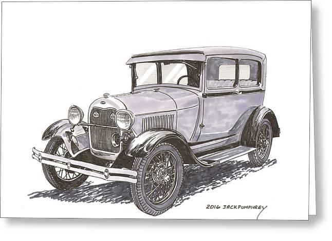 1929 Ford Model A 2 Door Sedan Greeting Card
