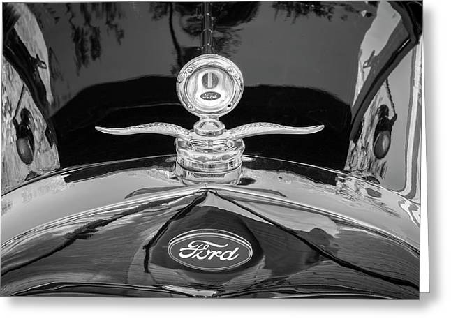1929 Ford Model A Hood Ornament Bw Greeting Card by Rich Franco