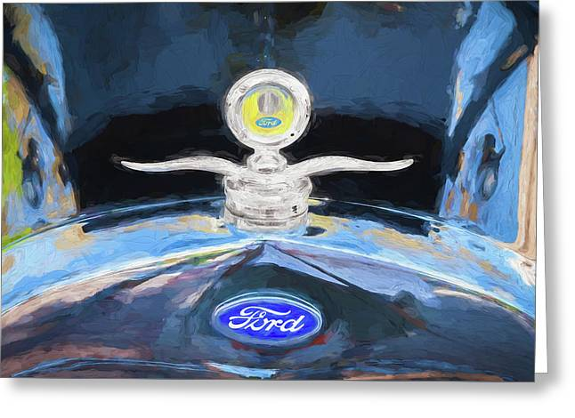 1929 Ford Model A Hood Ornament Painted Greeting Card by Rich Franco
