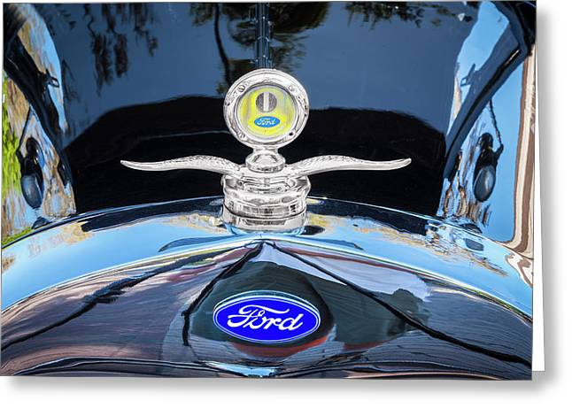 1929 Ford Model A Hood Ornament  Greeting Card by Rich Franco