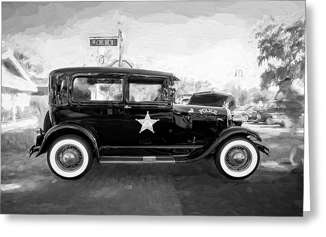 Greeting Card featuring the photograph 1929 Ford Model A Tudor Police Sedan Bw by Rich Franco