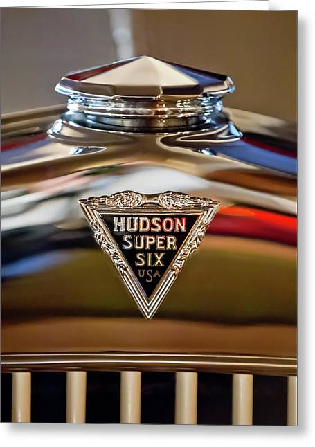 1929 Hudson Cabriolet Hood Ornament Greeting Card by Jill Reger