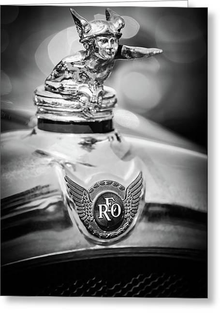 1929 Reo Flying Cloud Master Sport Roadster Hood Ornament - Emblem -0826bw Greeting Card