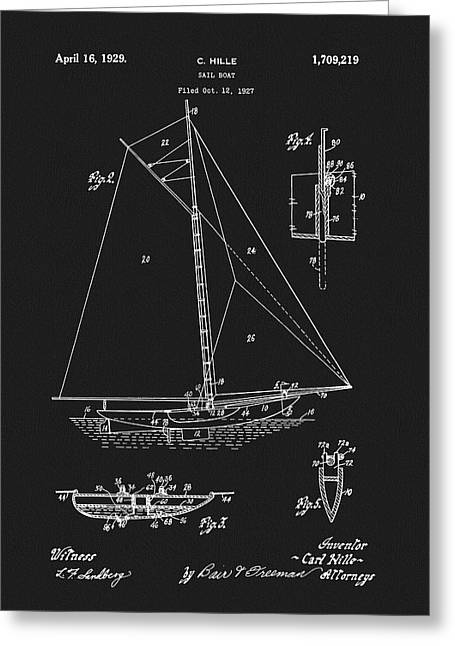 1929 Sailboat Greeting Card by Dan Sproul