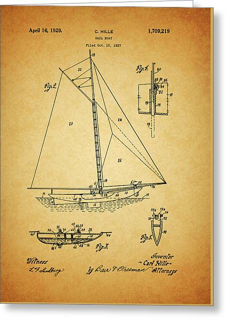 1929 Sailboat Patent Greeting Card by Dan Sproul