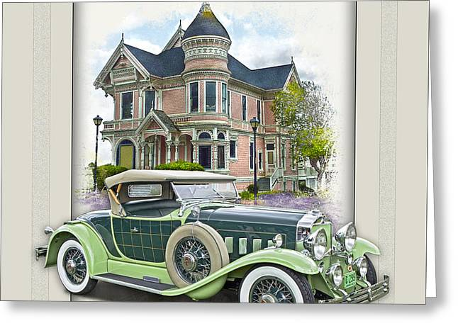 1929 Willys-knight 66b Plaidside Roadster By Griswold Greeting Card