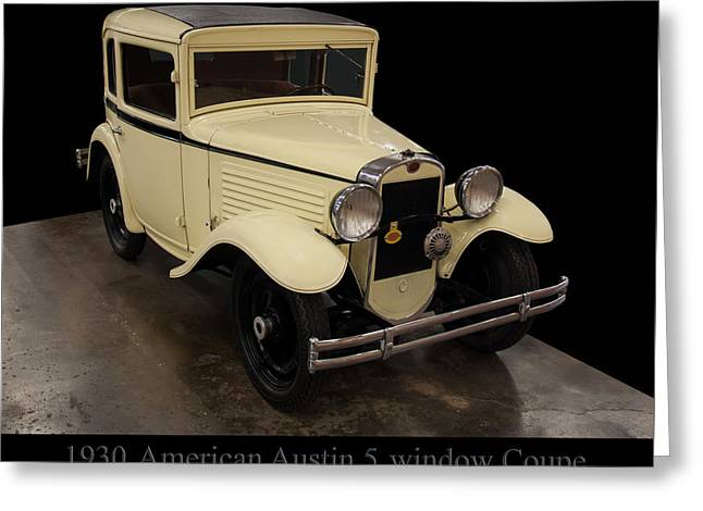 Greeting Card featuring the digital art 1930 American Austin 5 Window Coupe by Chris Flees