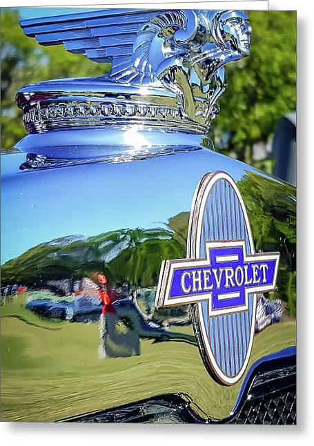 1930 Chevrolet Ad Hood Ornament Greeting Card