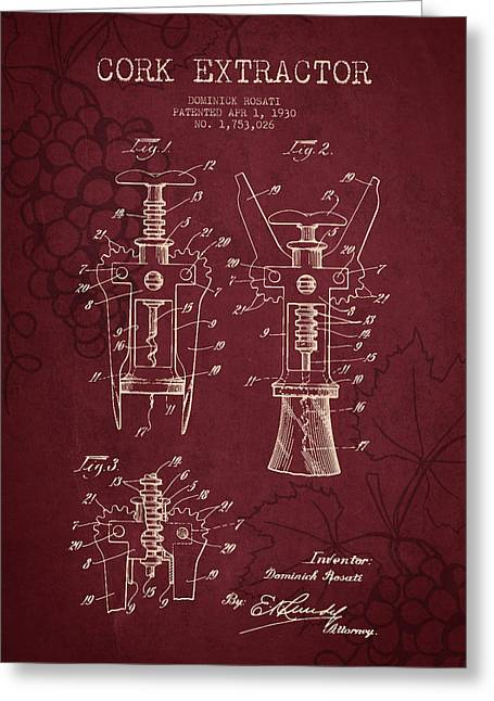 1930 Cork Extractor Patent - Red Wine Greeting Card by Aged Pixel