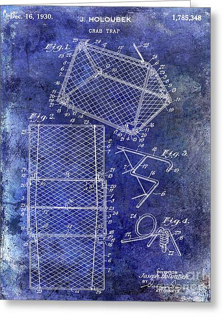 1930 Crab Trap Patent Blue Greeting Card
