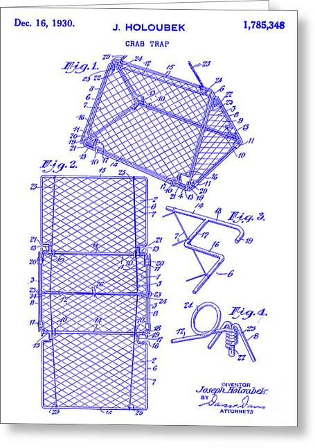 1930 Crab Trap Patent Blueprint Greeting Card