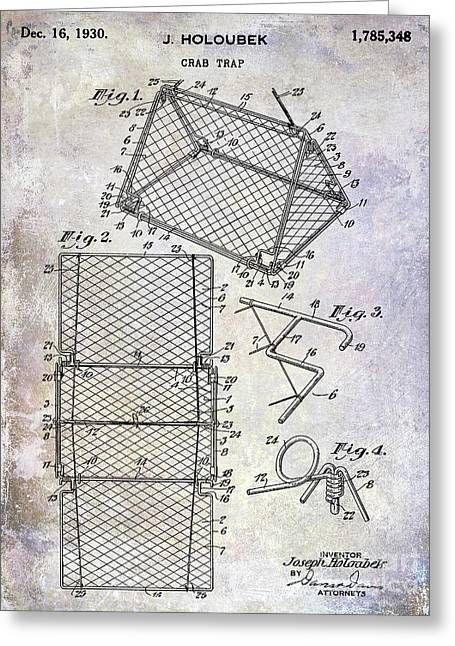 1930 Crab Trap Patent Greeting Card