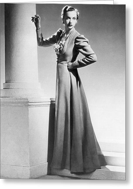 1930 Fashion Model Greeting Card by Underwood Archives
