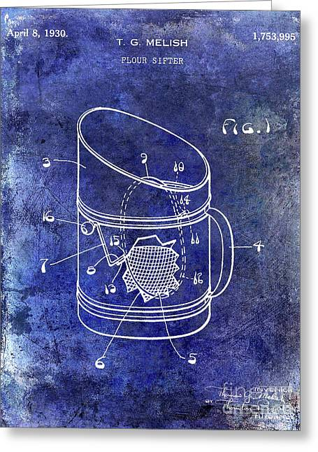 1930 Flour Sifter Patent  Blue Greeting Card