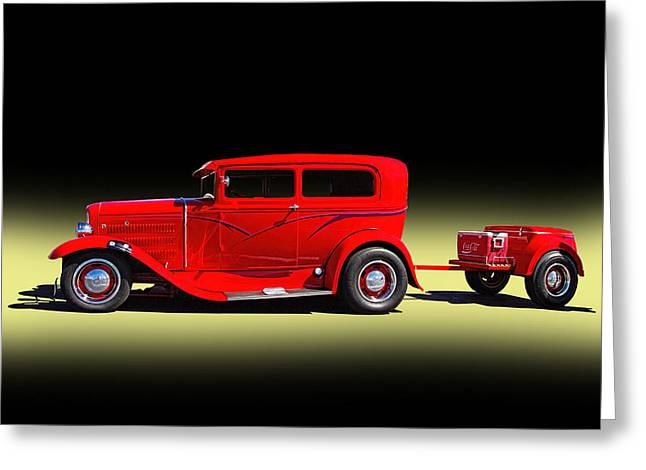 1930 Red Ford Sedan With Trailer Greeting Card