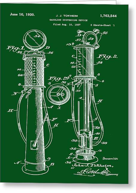 1930 Gas Pump Patent In Green Greeting Card