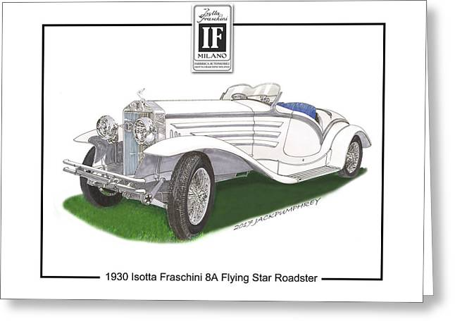 1930 Isotta Fraschini 8a Flying Star Roadster Greeting Card