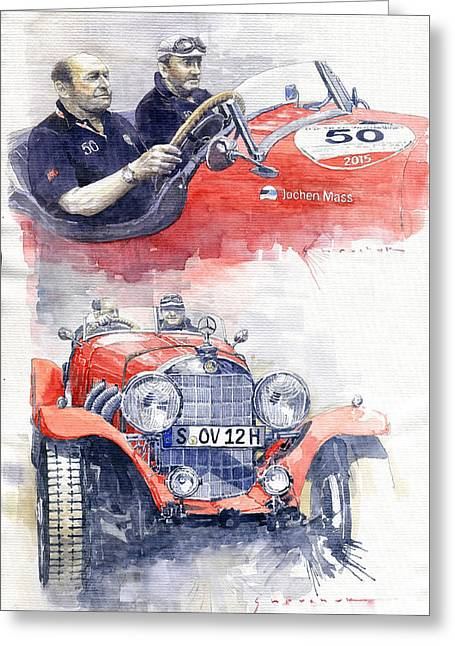 1930 Mercedes-benz 710 Ss Johen Mass  Millemiglia 2015  Greeting Card