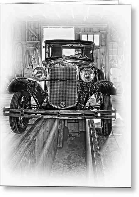 1930 Model T Ford - Vignette Bw Greeting Card