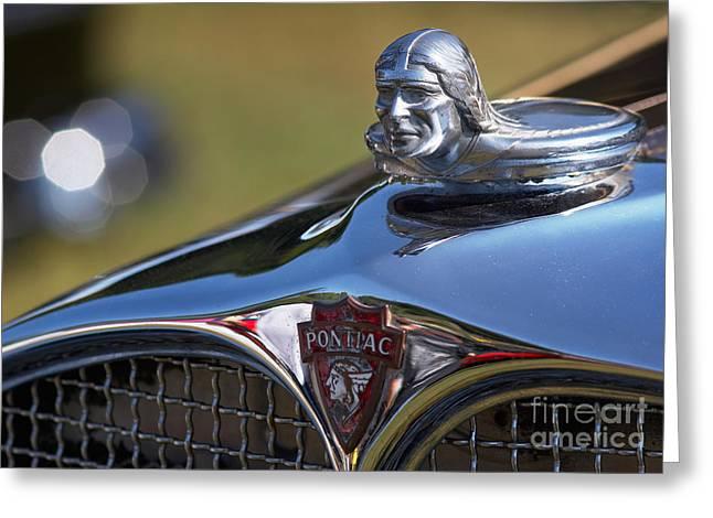 Road Trip Greeting Cards - 1930 Pontiac Radiator Cap Greeting Card by Susan Isakson