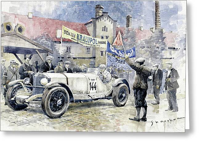 1930 Zbraslav-jiloviste Regularity Ride To The Top Mercedes Benz Ssk  Rudolf Caracciola Winner. Greeting Card