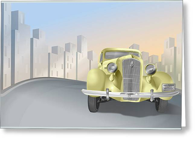 1930's Plymouth Sedan Greeting Card