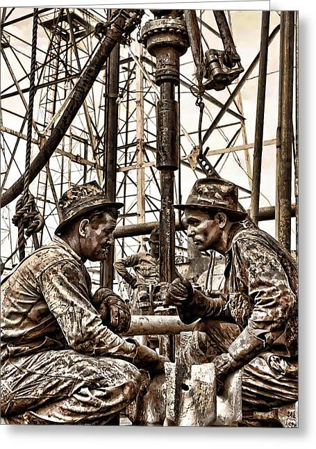 1930s Texas Oil Roughnecks Greeting Card by Daniel Hagerman