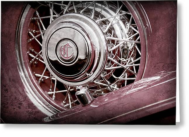 1931 Chrysler Cg Imperial Dual Cowl Phaeton Spare Tire Emblem -0699ac Greeting Card by Jill Reger