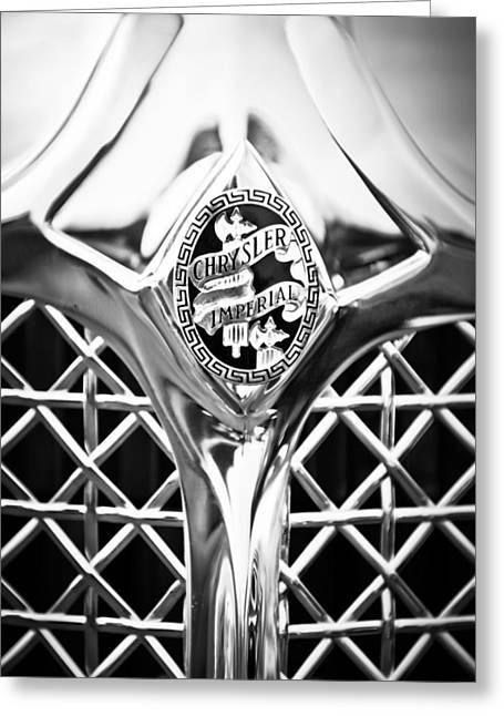 1931 Chrysler Cg Imperial Lebaron Roadster Grille Emblem -2664bw46 Greeting Card by Jill Reger