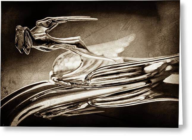 1931 Chrysler Cg Imperial Roadster Hood Ornament -0561s Greeting Card by Jill Reger
