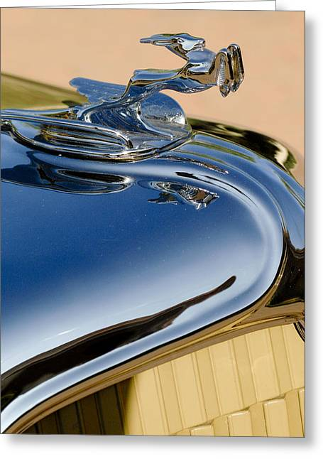 1931 Chrysler Cn Roadster Hood Ornament 3 Greeting Card by Jill Reger