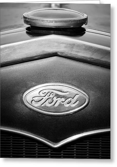 1931 Ford Emblem -0376bw1 Greeting Card
