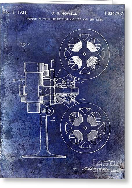 1931 Movie Projector Patent Blue Greeting Card by Jon Neidert