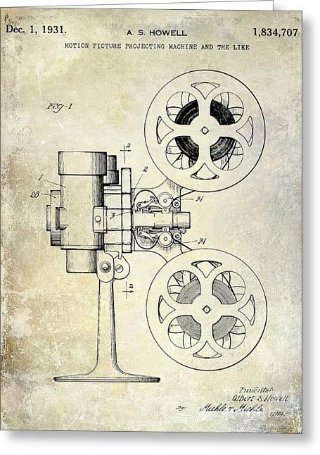1931 Movie Projector Patent Greeting Card by Jon Neidert