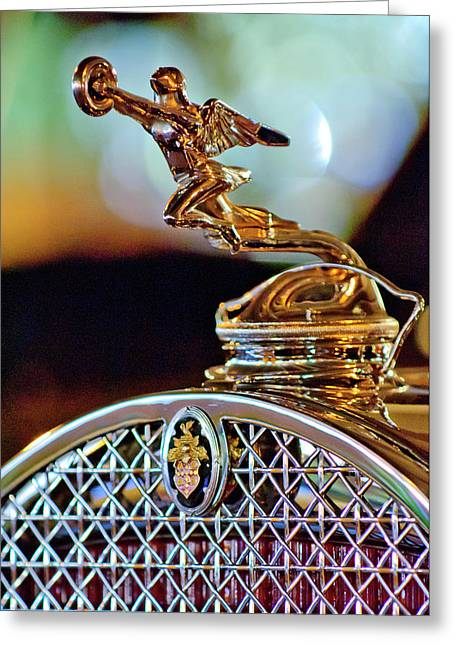 1931 Packard Convertible Victoria Hood Ornament Greeting Card