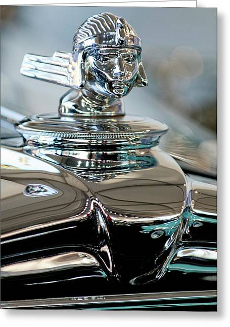 1931 Stutz Dv-32 Sedan Hood Ornament Greeting Card by Jill Reger