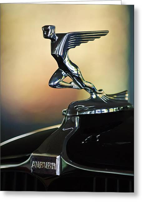 Vintage Hood Ornament Greeting Cards - 1932 Auburn 12-160 Speedster Hood Ornament Greeting Card by Jill Reger