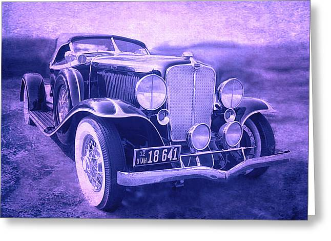 Greeting Card featuring the photograph 1932 Auburn Speedster Violet Grunge by David King
