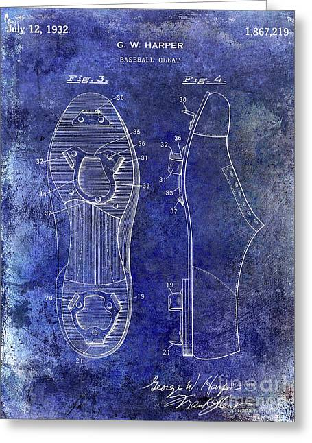 1932 Baseball Cleats Patent Blue Greeting Card by Jon Neidert