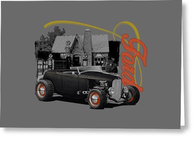 1932 Black Ford At Filling Station Greeting Card by Paul Kuras