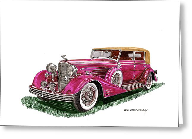 Greeting Card featuring the painting 1932 Cadillac All Weather Phaeton V 16 by Jack Pumphrey