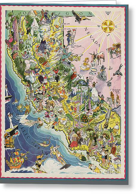 1932 Caricature Map Of California Greeting Card by Jon Neidert