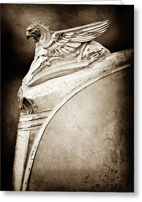 1932 Essex Griffin Hood Ornament -0478s Greeting Card by Jill Reger