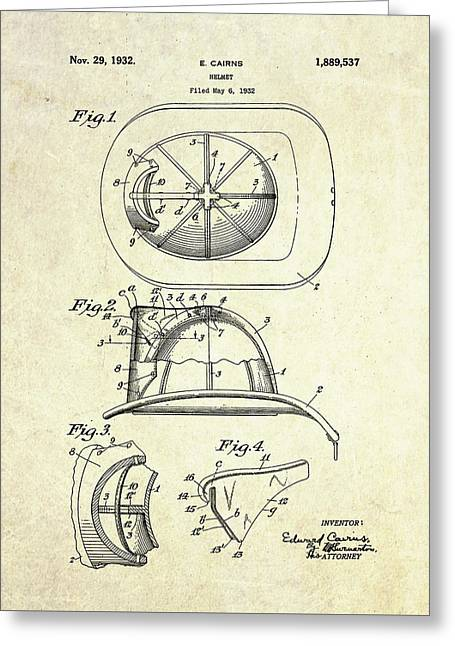 1932 Firefighter Helmet Patent Greeting Card by Gary Bodnar