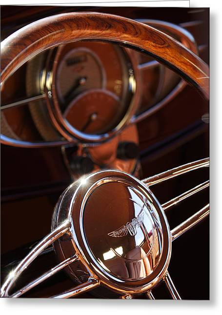 1932 Ford Hot Rod Steering Wheel Greeting Card by Jill Reger