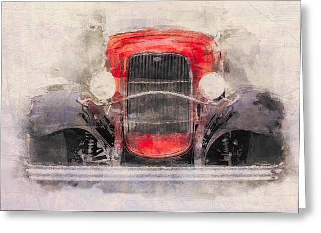 1932 Ford Roadster Red And Black Greeting Card by Eduardo Tavares
