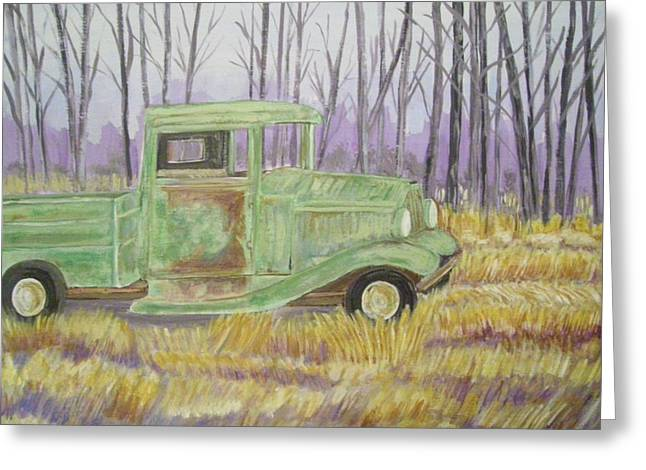 Greeting Card featuring the painting 1932  Greenford Pickup Truck by Belinda Lawson
